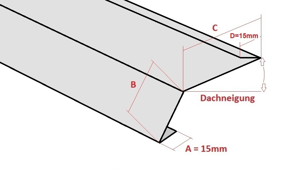 traufblech einhangblech f r dachrinnen regenrinnen metall in form. Black Bedroom Furniture Sets. Home Design Ideas